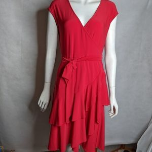 Red Wrap Dress 8 Romantic V Neck With Ruffles